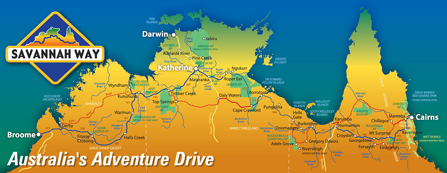 Map from Cairns to Darwin