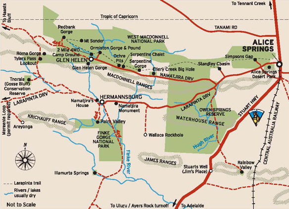 Map of the West MacDonnell Ranges | Credits NTTC